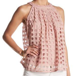 Romeo & Juliet Couture pink eyelet halter tank M